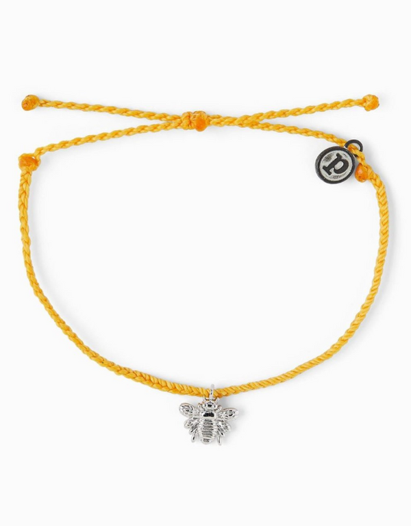 Silver Bee Bracelet - Dark Yellow