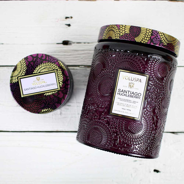 Large Embossed Glass Candle - Santiago Huckleberry