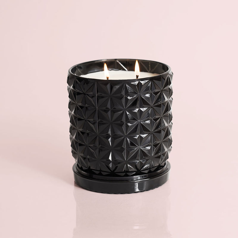 Jumbo Gilded Muse Black Faceted Jar - Smoked Clove & Tabac