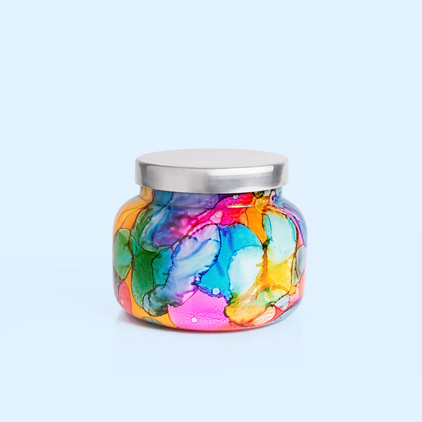 Volcano Rainbow Watercolor Jar Candle