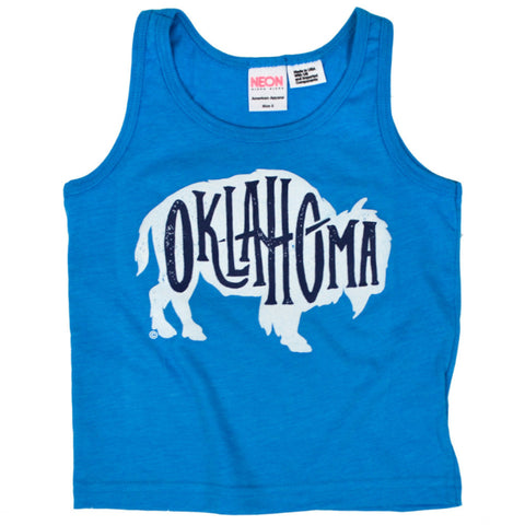 OK Bison Neon Blue Kids Tank