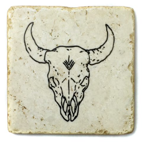 Just OK Bison Skull Coaster