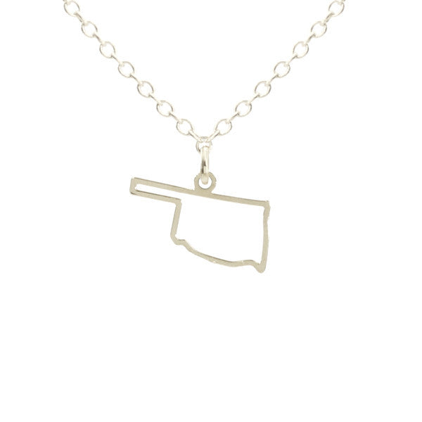 Oklahoma Outline Silver Necklace