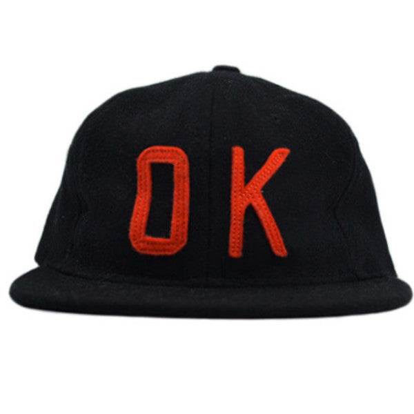Ebbets Field Co. OK Black / Orange Snapback Hat