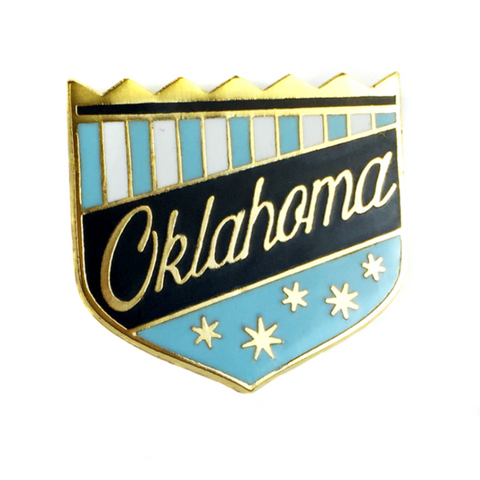 Blue Oklahoma Shield Lapel Pin
