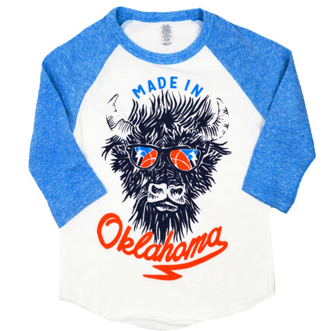 Made in OK Kids Heather Blue Baseball Tee
