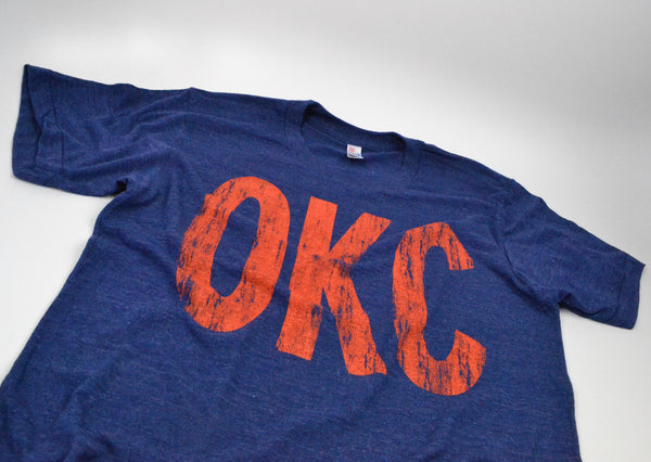 OKC Distressed Letters Navy Tee