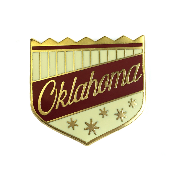 Red Oklahoma Shield Lapel Pin