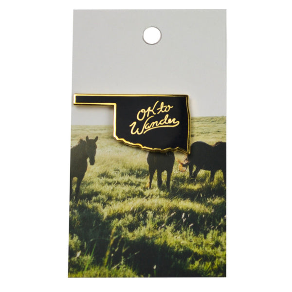 OK to Wander Black Lapel Pin
