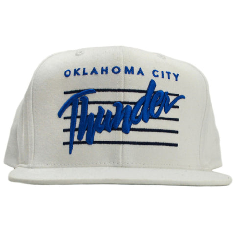 Thunder Cursive White Adjustable Hat