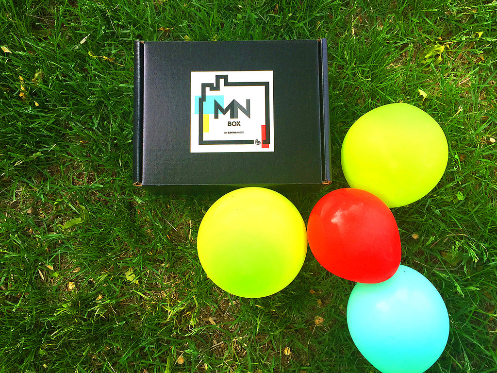 MN Box subscription box with balloons