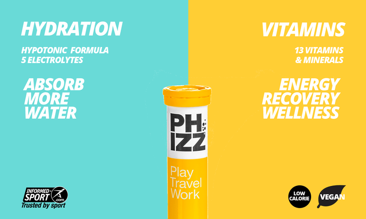 Phizz is a hydration tablet combined with a complete multivitamin ideal for Play, Travel and Work.