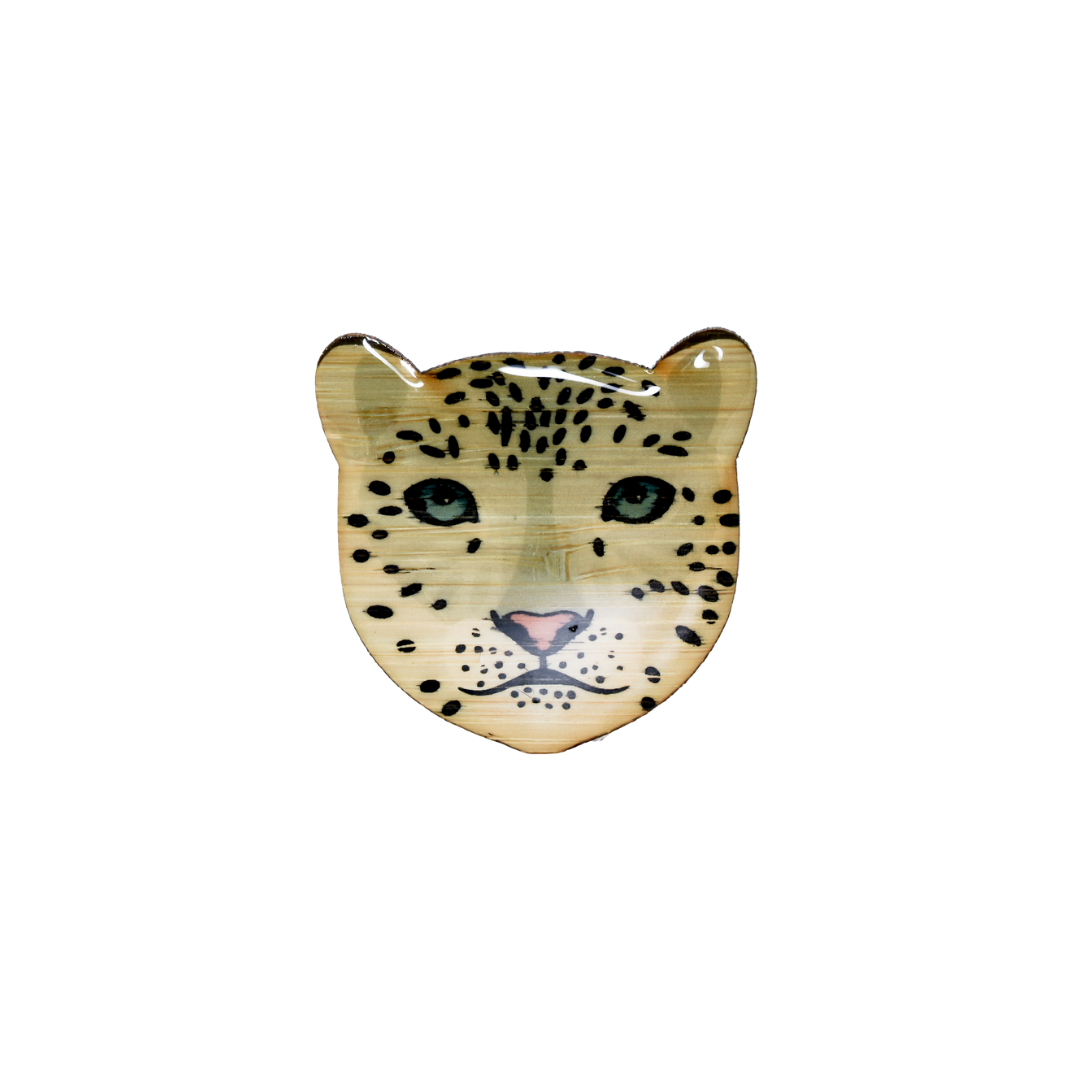 Snow Leopard Face Brooch