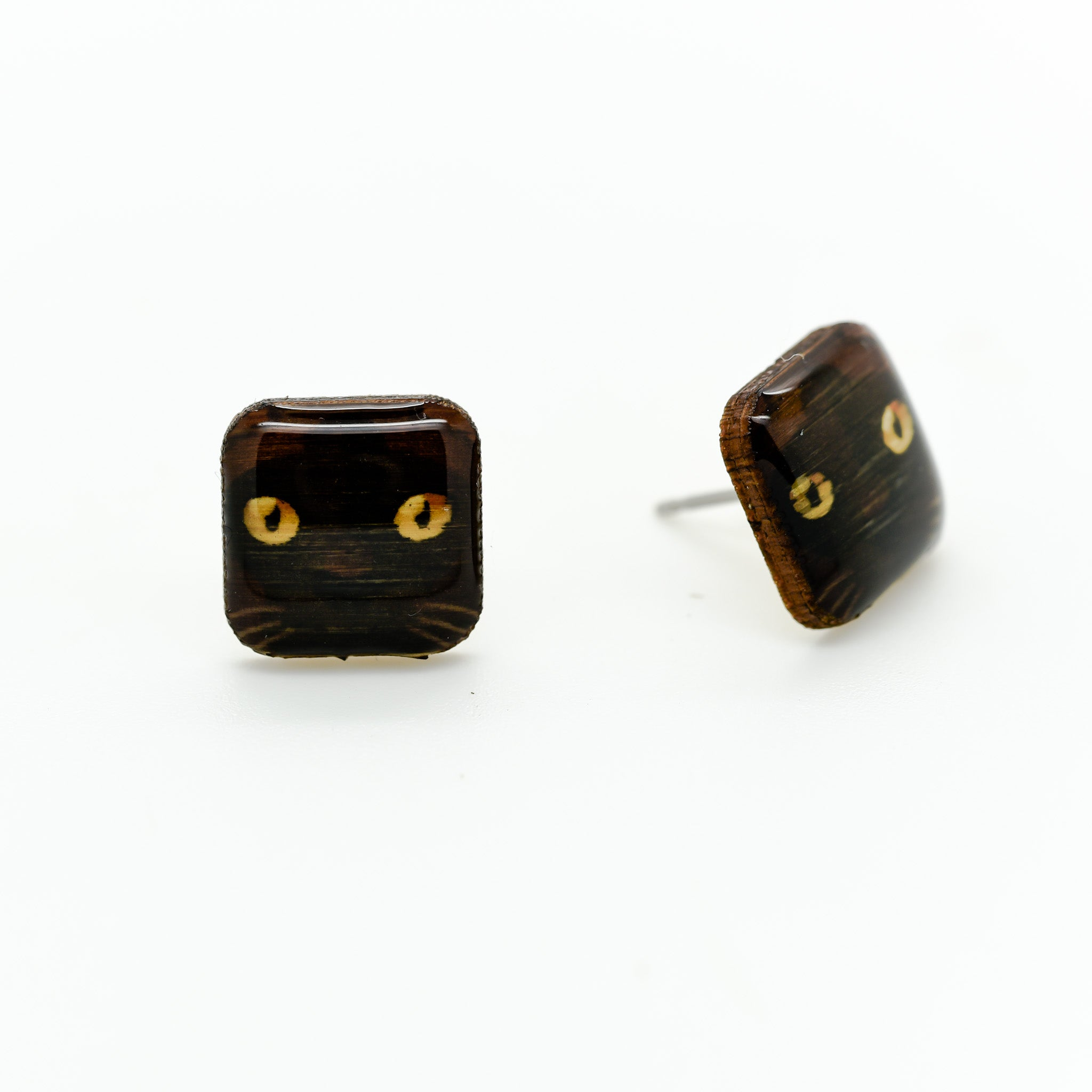 Havana Brown Cat Earrings