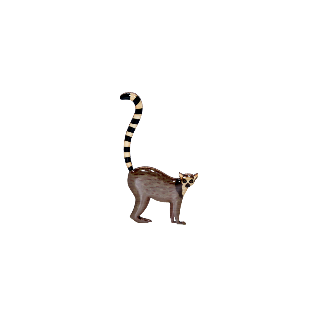 Lemur - Ring-tail Lemur Brooch
