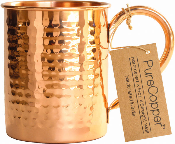 Copper Mug - Hammered 16oz Straight - BONUS Recipe Cards! - PureCopper - 1