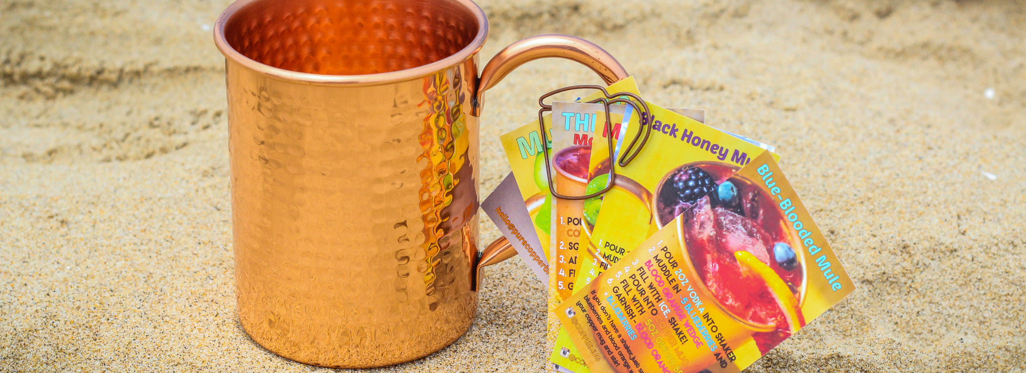PureCopper Hammered 16oz Straight mug with Mule Recipe Cards