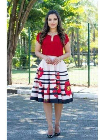 Beautiful Red Color Fancy Western Top & Skirt