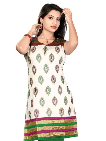 Cream Color Silk Embroidery Kurti - PurpleTulsi.com  - 1