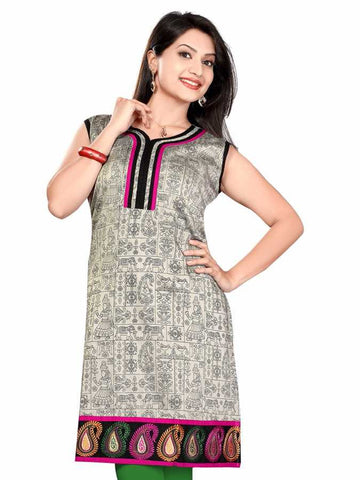 South Silk steel gray warlic print Kurti - PurpleTulsi.com