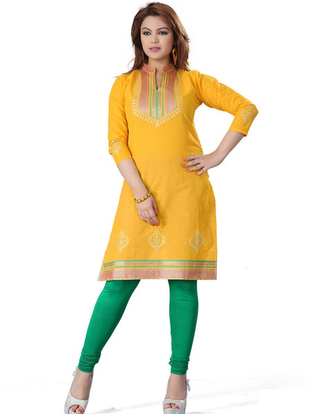 Bright Yellow Cotton Kurti