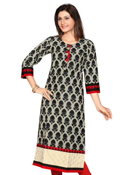 Jaipur Printed Fancy Pakistani Long Kurti - PurpleTulsi.com  - 1