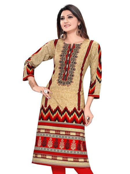 Stylish Front Back Printed Cotton Kurti - PurpleTulsi.com  - 1