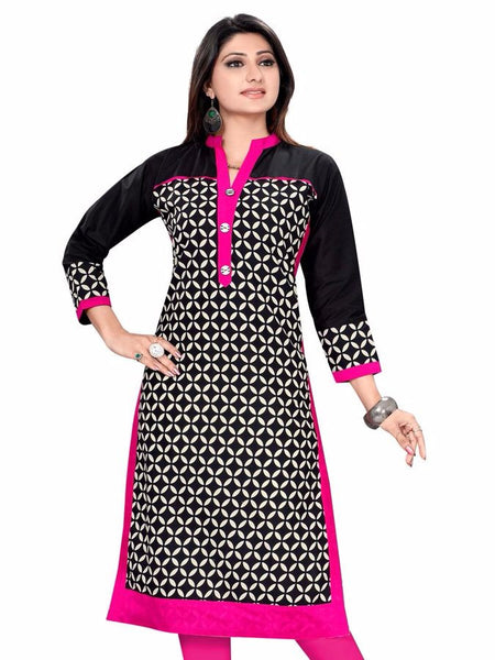 Beautiful Magenta and Black Kurti - PurpleTulsi.com  - 1