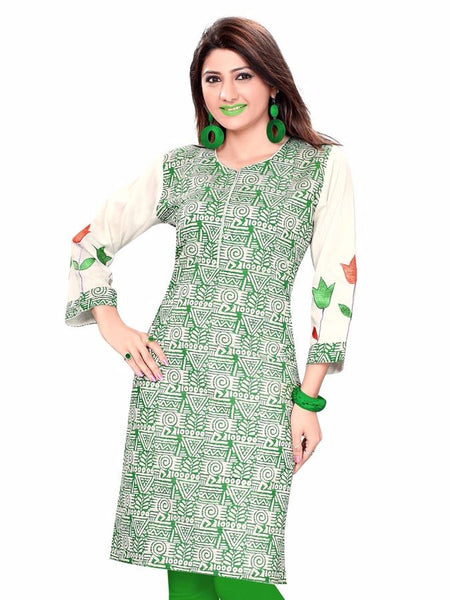 Green Cotton Kurti - PurpleTulsi.com  - 1