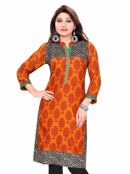 Glowing Orange Cotton Kurti - PurpleTulsi.com  - 1