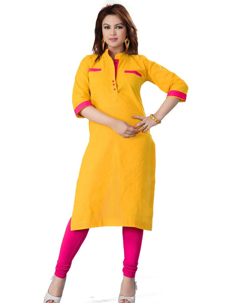 Yellow and Pink Cotton Kurti