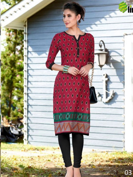 Maroon and Black Cotton Kurti