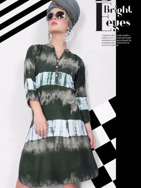 Olive Green and White Rayon Kurti - PurpleTulsi.com  - 1