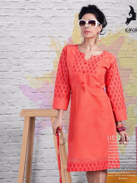 Coral Cotton Kurti - PurpleTulsi.com  - 1