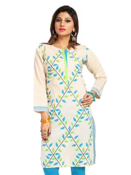 Leaf Print Cotton kurti - PurpleTulsi.com