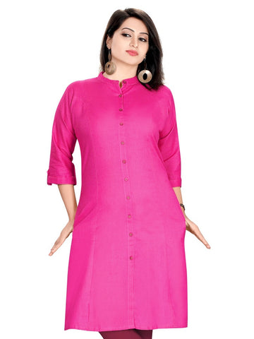 Pink Cotton Kurti - PurpleTulsi.com