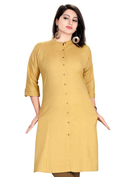 Mustard Cotton Kurti - PurpleTulsi.com