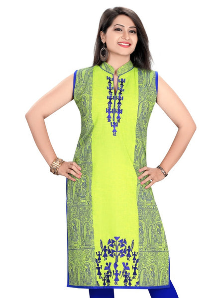 Liril Green and Cobalt Blue Kurti - PurpleTulsi.com