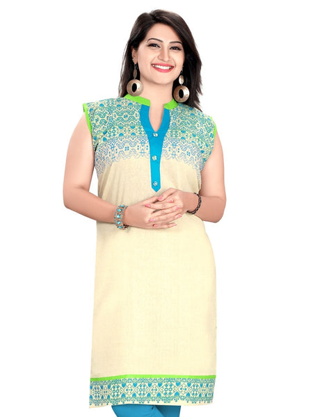 Beige and Blue Kurti - PurpleTulsi.com