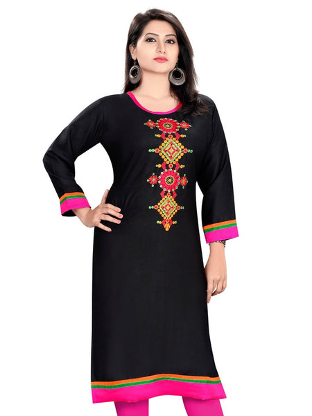 Black Cotton Kurti - PurpleTulsi.com