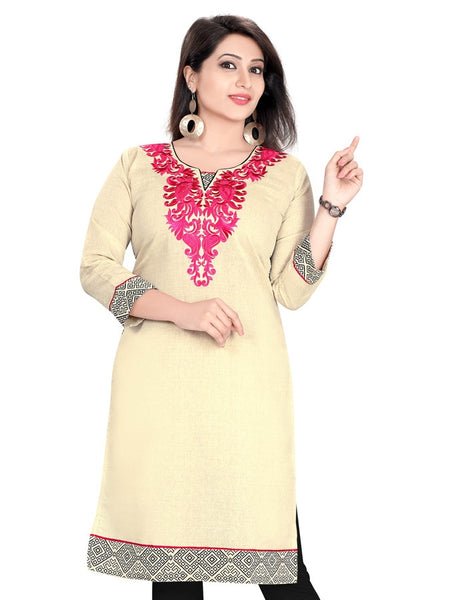 Cream Cotton kurti - PurpleTulsi.com
