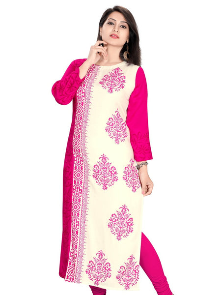 White and Magenta Cotton kurti - PurpleTulsi.com