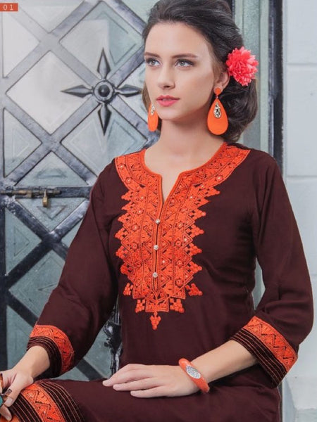 Caramel and Orange Rayon Kurti - PurpleTulsi.com  - 1