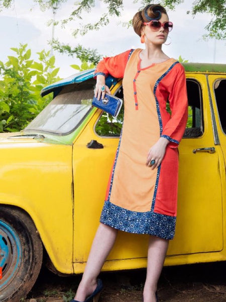 Beige and Multicolour Rayon Kurti - PurpleTulsi.com  - 1