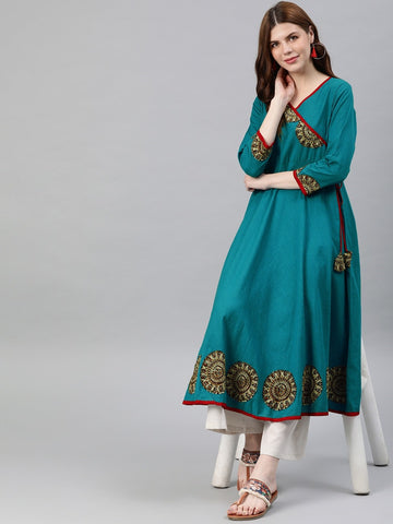 Beautiful Teal Blue Yellow Anarkali Kurti