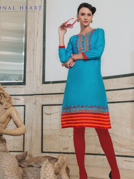 True Blue Rayon Kurti - PurpleTulsi.com  - 1