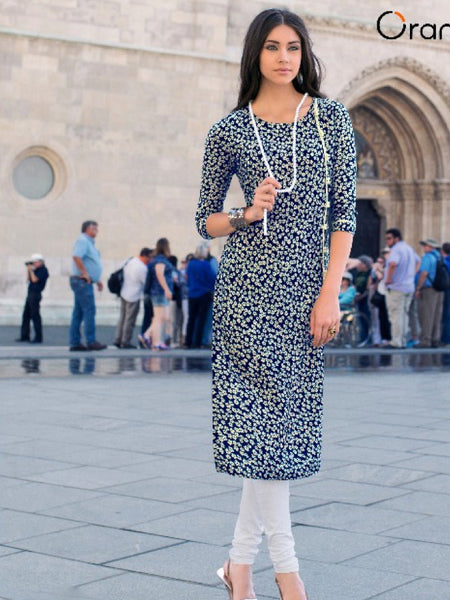 Indigo Blue and White Rayon Kurti