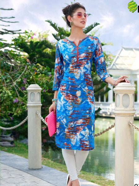 Admiral Blue Cotton Kurti