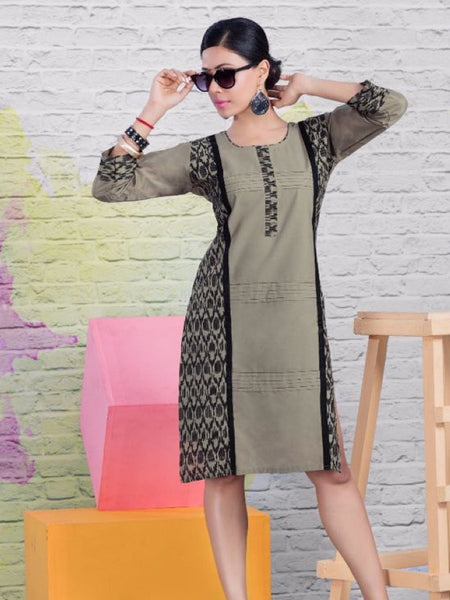 Pebble Grey and Black Cotton Kurti - PurpleTulsi.com  - 1