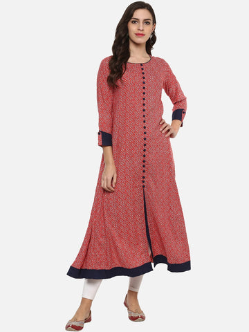 Beautiful Pink And Blue Anarkali Kurti